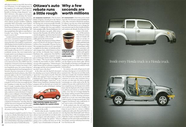 Article Preview: Ottawa's auto rebate runs a little rough, APR. 9th 2007 2007 | Maclean's