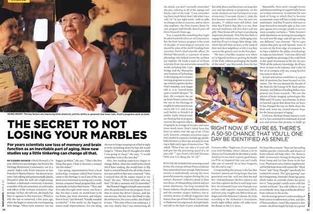 Article Preview: THE SECRET TO NOT LOSING YOUR MARBLES, APR. 9th 2007 2007 | Maclean's