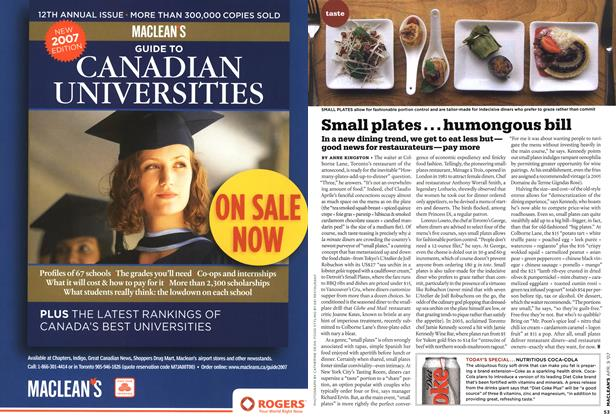 Article Preview: Small plates...humongous bill, APR. 9th 2007 2007 | Maclean's