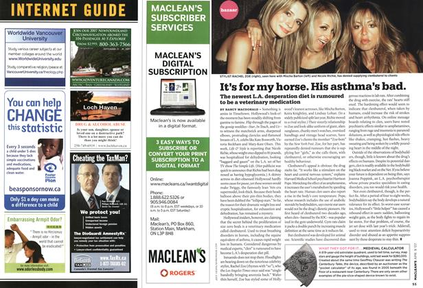 Article Preview: It's for my horse. His asthma's bad., APR. 9th 2007 2007 | Maclean's