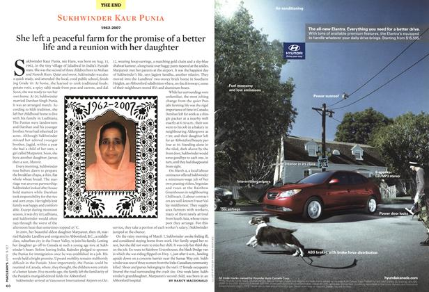 Article Preview: SUKHWINDER KAUR PUNIA 1962-2007, APR. 9th 2007 2007 | Maclean's