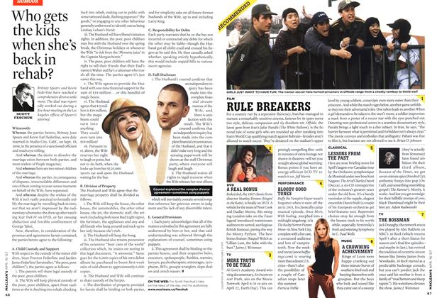 Article Preview: Who gets the kids when she's back in rehab?, APR. 16th 2007 2007 | Maclean's