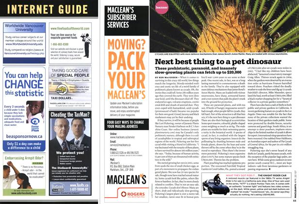 Article Preview: Next best thing to a pet dinosaur, APR. 23rd 2007 2007 | Maclean's