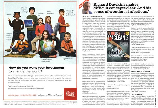 Article Preview: Richard Dawkins makes difficult concepts clear. And his sense of wonder is infectious.', APR. 30th 2007 2007 | Maclean's