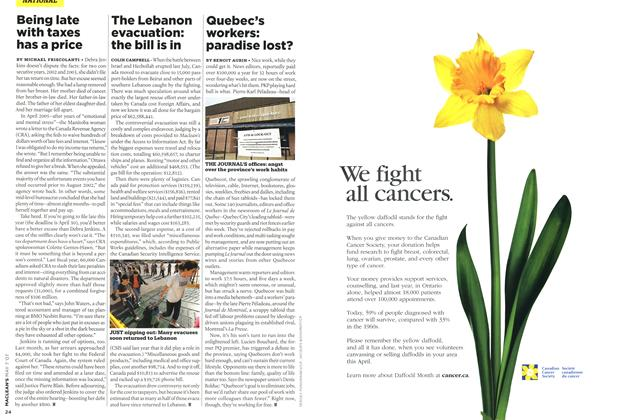 Article Preview: Quebec's workers: paradise lost?, MAY 7th 2007 2007 | Maclean's