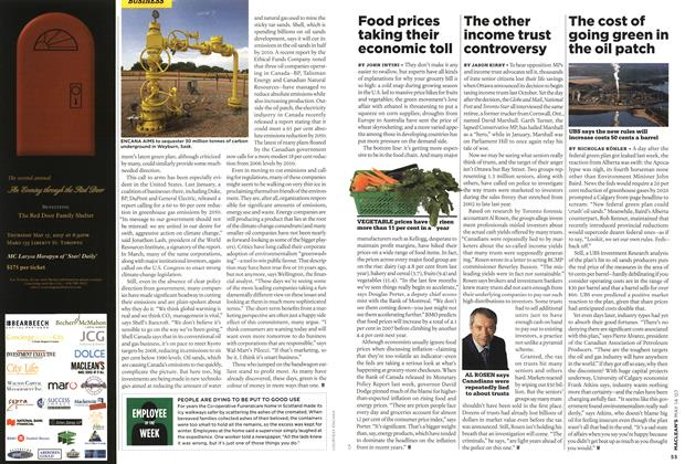 Article Preview: The cost of going green in the oil patch, May 2007 | Maclean's