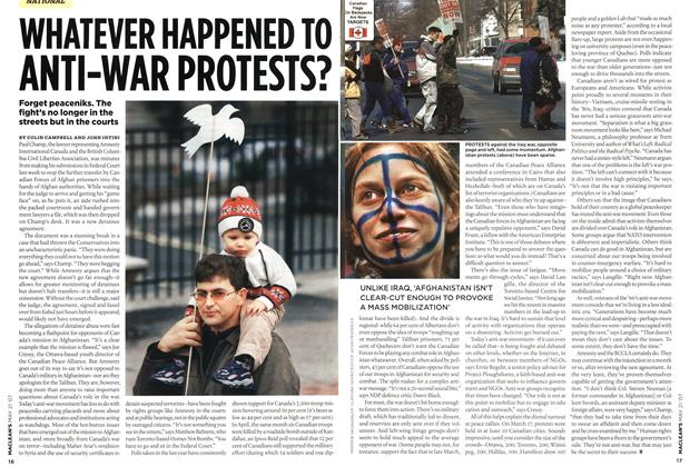 Article Preview: WHATEVER HAPPENED TO ANTI-WAR PROTESTS?, MAY 21st 2007 2007 | Maclean's