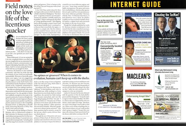 Article Preview: Field notes on the love life of the licentious quacker, MAY 21st 2007 2007 | Maclean's