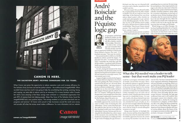 Article Preview: André Boisclair and the Péquiste logic gap, MAY 21st 2007 2007 | Maclean's
