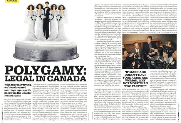 Article Preview: POLYGAMY: LEGAL IN CANADA, JUN. 25th 2007 2007 | Maclean's
