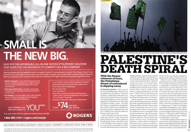 Article Preview: PALESTINE'S DEATH SPIRAL, JUL. 2nd 2007 2007 | Maclean's