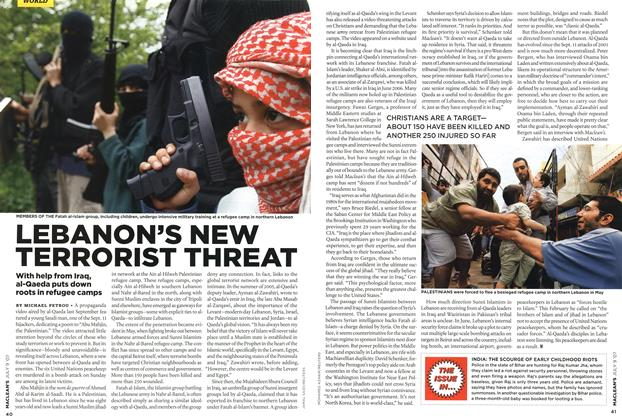 Article Preview: LEBANON'S NEW TERRORIST THREAT, JUL. 9th 2007 2007 | Maclean's