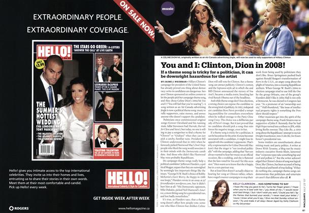 Article Preview: You and I: Clinton, Dion in 2008!, JUL. 23rd 2007 2007 | Maclean's