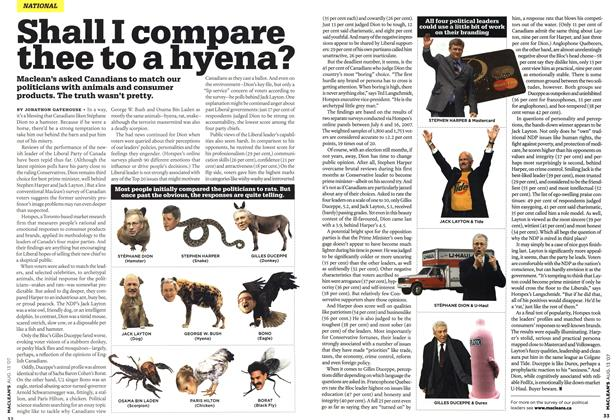 Article Preview: Shall I compare thee to a hyena?, AUG. 13th 2007 2007 | Maclean's