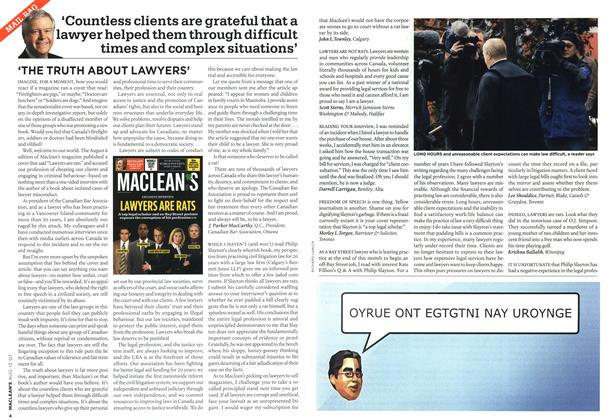 Article Preview: 'THE TRUTH ABOUT LAWYERS', AUG. 13th 2007 2007 | Maclean's