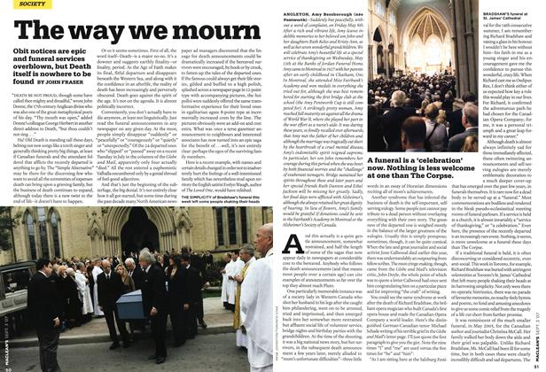 Article Preview: The way we mourn, SEPT. 3rd 2007 2007 | Maclean's