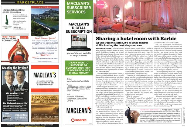 Article Preview: Sharing a hotel room with Barbie, SEPT. 3rd 2007 2007 | Maclean's