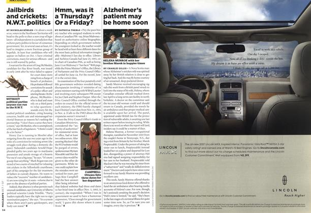 Article Preview: Alzheimer's patient may be home soon, OCT. 1st 2007 2007 | Maclean's