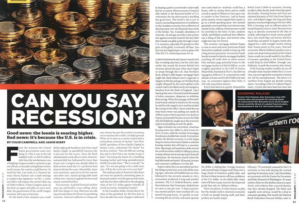 Article Preview: CAN YOU SAY RECESSION?, OCT. 8th 2007 2007 | Maclean's