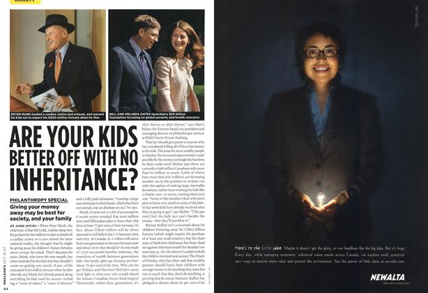 Article Preview: ARE YOUR KIDS BETTER OFF WITH NO INHERITANCE?, OCT. 15th 2007 2007 | Maclean's