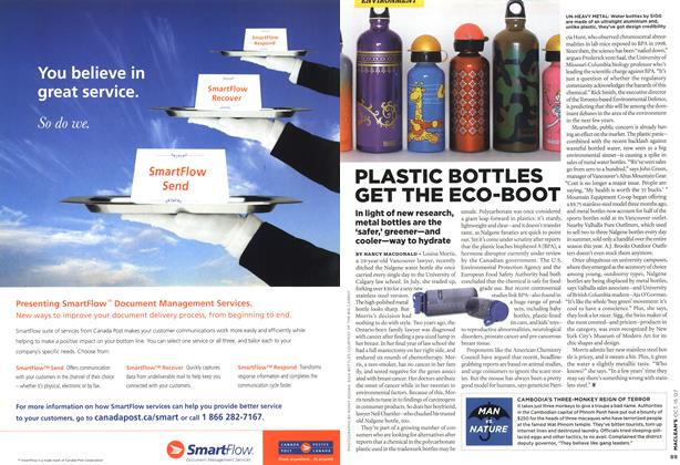 Article Preview: PLASTIC BOTTLES GET THE ECO-BOOT, OCT. 15th 2007 2007 | Maclean's