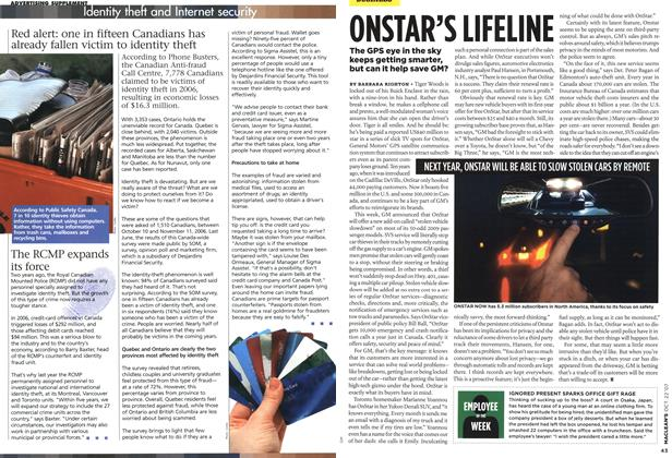 Article Preview: ONSTAR'S LIFELINE, OCT. 22nd 2007 2007 | Maclean's
