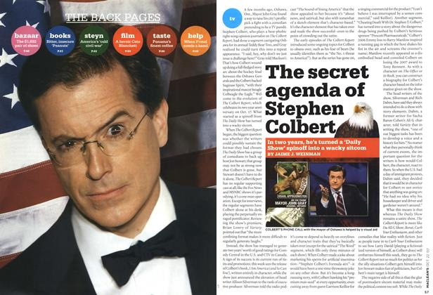 Article Preview: The secret agenda of Stephen Colbert, OCT. 22nd 2007 2007   Maclean's