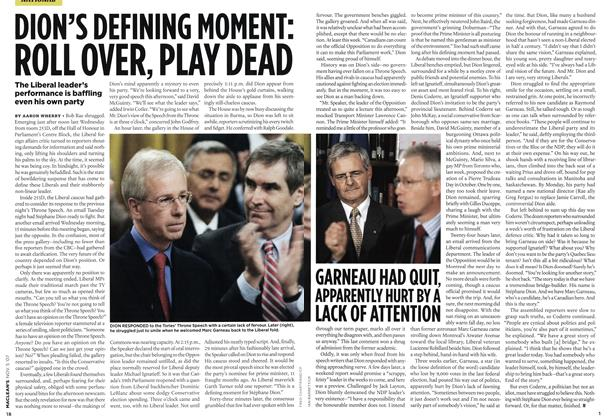 Article Preview: DION'S DEFINING MOMENT: ROLL OVER, PLAY DEAD, NOV. 5th 2007 2007 | Maclean's