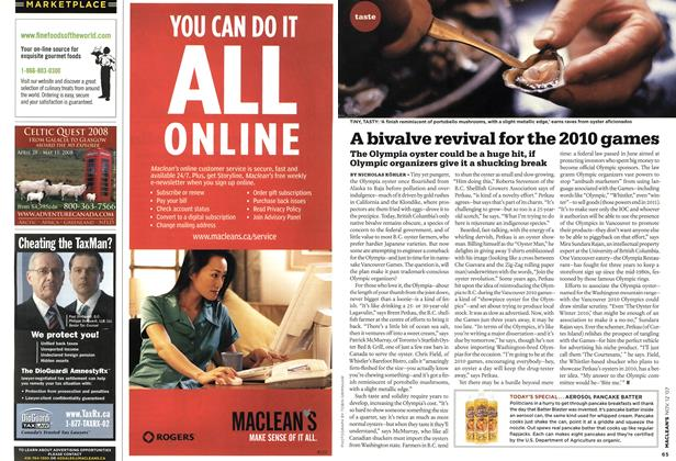 Article Preview: A bivalve revival for the 2010 games, NOV. 12th 2007 2007 | Maclean's