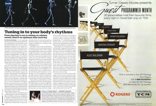 Article Preview: Tuning in to your body's rhythms, NOV. 19th 2007 2007   Maclean's