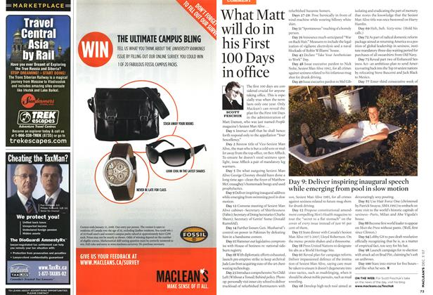Article Preview: What Matt will do in his First 100 Days in office, DEC. 3rd 2007 2007   Maclean's