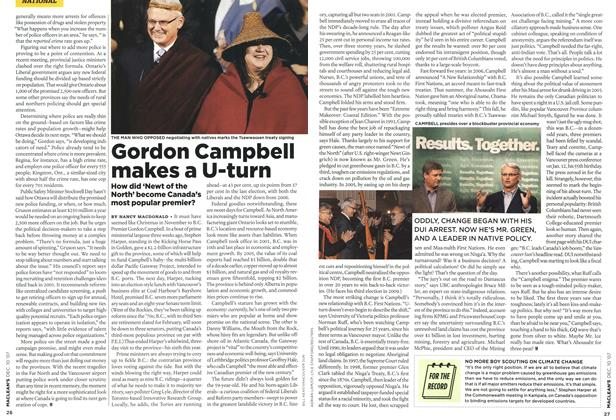 Article Preview: Gordon Campbell makes a U-turn, DEC. 10th 2007 2007 | Maclean's