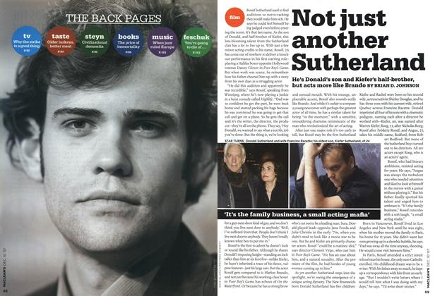 Article Preview: Not just another Sutherland, DEC. 10th 2007 2007 | Maclean's