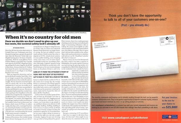 Article Preview: When it's no country for old men, DEC. 10th 2007 2007 | Maclean's