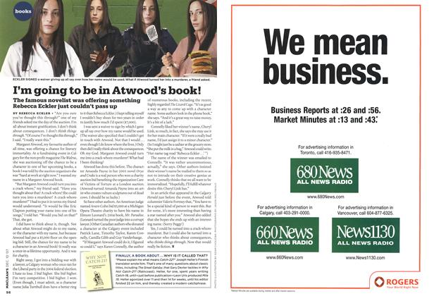 Article Preview: I'm going to be in Atwood's book!, DEC. 10th 2007 2007 | Maclean's