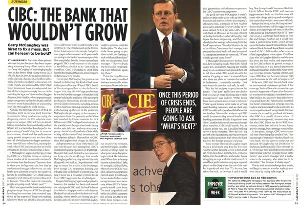 Article Preview: CIBC: THE BANK THAT WOULDN'T GROW, DEC. 17th 2007 2007 | Maclean's