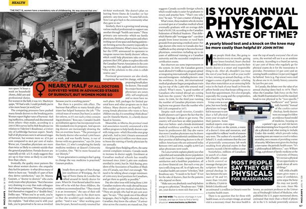 Article Preview: IS YOUR ANNUAL PHYSICAL A WASTE OF TIME?, JAN. 14th 2008 2008 | Maclean's