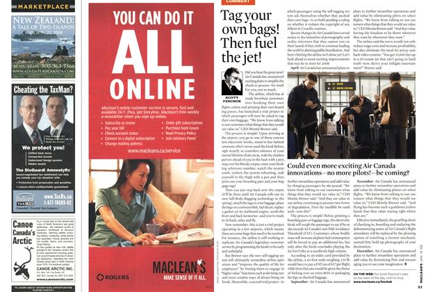 Article Preview: Tag your own bags! Then fuel the jet!, JAN. 14th 2008 2008 | Maclean's