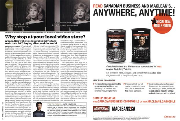Article Preview: Why stop at your local video store?, FEB. 4th 2008 2008 | Maclean's