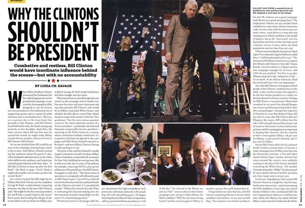 Article Preview: WHY THE CLINTONS SHOULDN'T BE PRESIDENT, FEB. 18th 2008 2008 | Maclean's