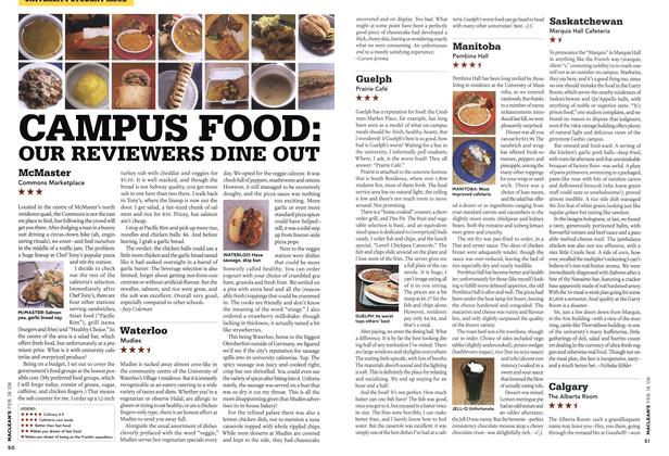 Article Preview: CAMPUS FOOD: OUR REVIEWERS DINE OUT, FEB. 18th 2008 2008 | Maclean's