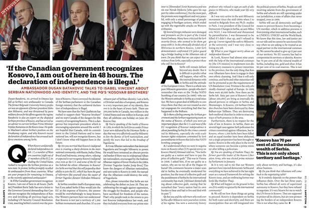 Article Preview: 'If the Canadian government recognizes Kosovo, I am out of here in 48 hours. The declaration of independence is illegal.', MAR. 10th 2008 2008 | Maclean's