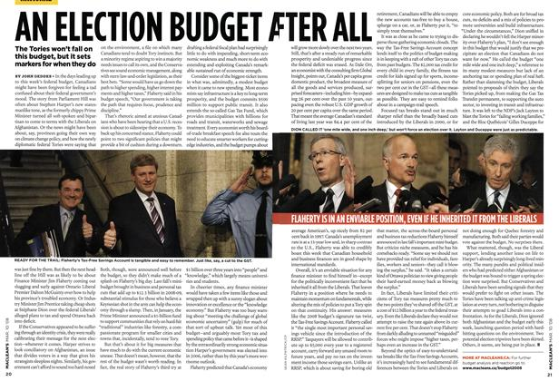 Article Preview: AN ELECTION BUDGET AFTER ALL, MAR. 10th 2008 2008 | Maclean's
