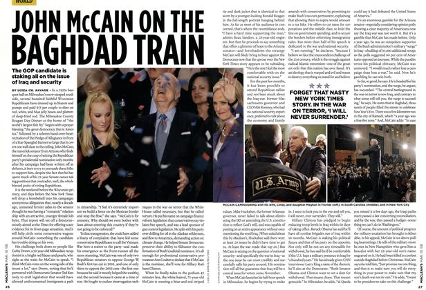 Article Preview: JOHN McCAIN ON THE BAGHDAD TRAIN, MAR. 10th 2008 2008 | Maclean's