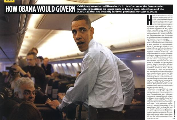 Article Preview: HOW OBAMA WOULD GOVERN, MAR. 17th 2008 2008 | Maclean's