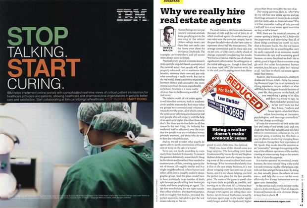 Article Preview: Why we really hire real estate agents, MAR. 17th 2008 2008 | Maclean's