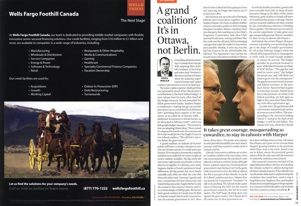 Article Preview: A grand coalition? It's in Ottawa, not Berlin., MAR. 31st 2008 2008 | Maclean's