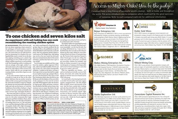 Article Preview: To one chicken add seven kilos salt, APR. 7th 2008 2008   Maclean's