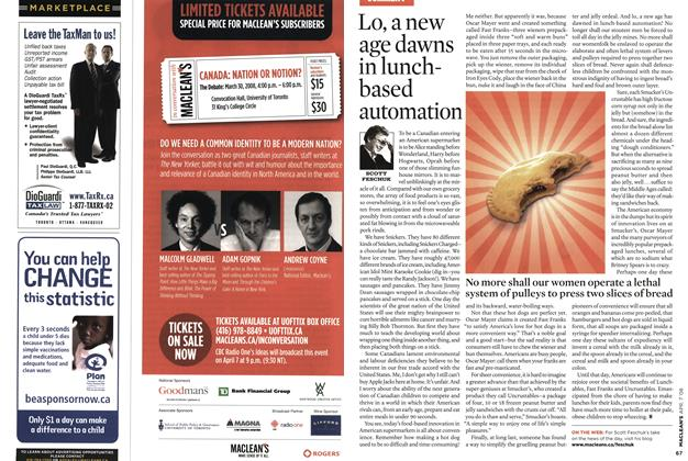 Article Preview: Lo, a new age dawns in lunch-based automation, APR. 7th 2008 2008   Maclean's