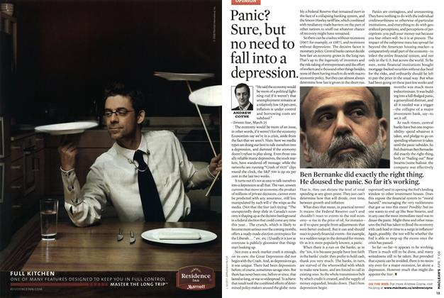 Article Preview: Panic? Sure, but no need to fall into a depression., APR. 7th 2008 2008 | Maclean's